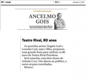 21.03.2014 - Jornal O Globo - Col. Ancelmo Gois - Rival 80 anos